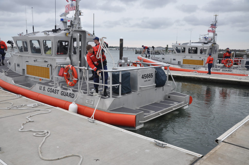 Coast Guard searching kayaker, Coast Guard Station Cape May 45-foot Response Boat