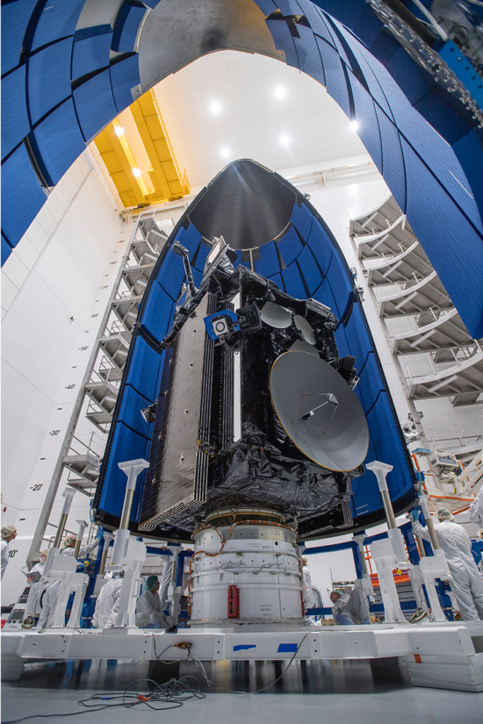 The U.S. Air Force's fifth Lockheed Martin Advanced Extremely High Frequency (AEHF-5) protected communication satellite encapsulated prior to launch.