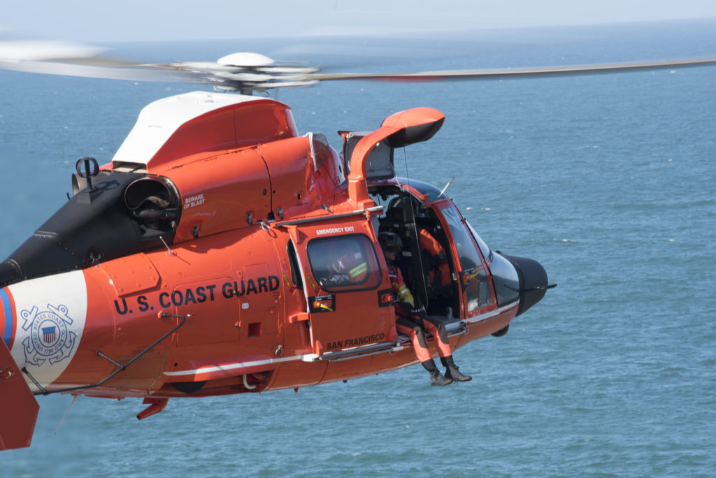 MH-65 Dolphin San Francisco, US Coast Guard Air Station San Francisco helicopter, Coast Guard rescues 2 from downed plane in Half Moon Bay, USCG rescue plane crew