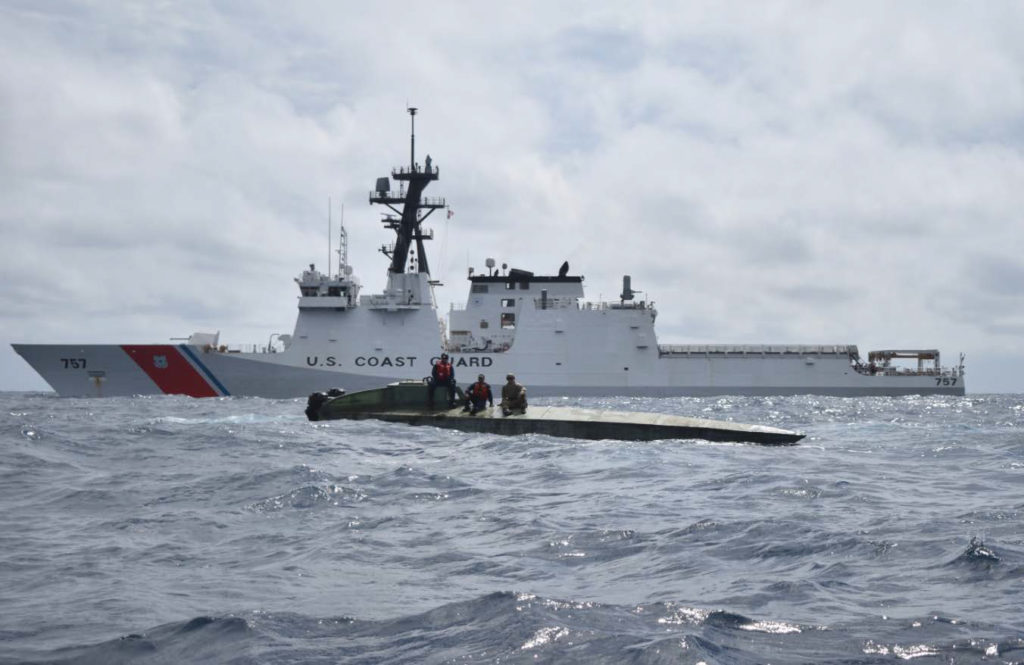 U.S. Coast Guard Cutter Midgett (WMSL 757) crew members seized more than 2,100 pounds of cocaine July 26, 2019, from a low-profile go-fast vessel interdicted in international waters of the Eastern Pacific Ocean. Midgett crew members boarded the suspected smuggling vessel and seized the cocaine during the cutter's transit from the Pascagoula shipyard where Midgett was built to the cutter's future homeport in Honolulu where the cutter is scheduled for commissioning during a dual-commissioning ceremony August 24, 2019 with Midgett's sister ship the Coast Guard Cutter Kimball (WMSL 756). U.S. Coast Guard photo.