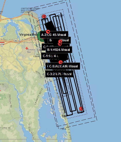 This is a graphic of the 214 square miles of combined search patterns conducted by Coast Guard assets Aug. 10, 2019, to search for a swimmer who was reported to have entered the water but was not seen coming out in the vicinity of Virginia Beach, Virginia.  The Coast Guard searched for a total of 17,5 hours. U.S. Coast Guard Graphic