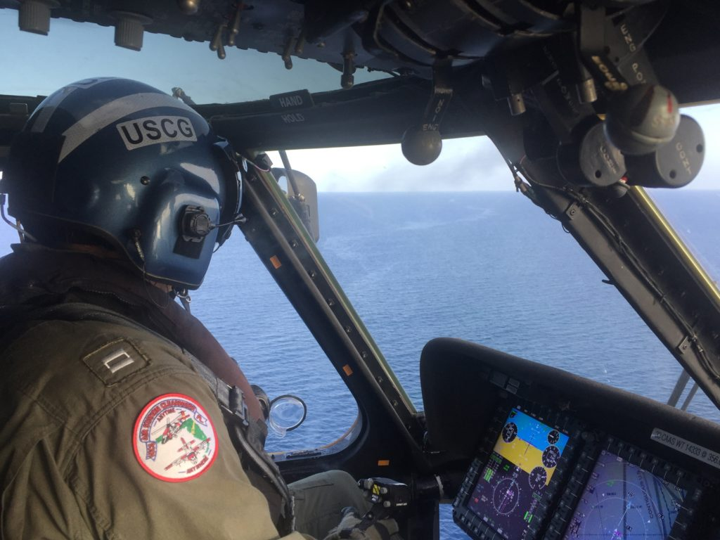 A Coast Guard Air Station Clearwater MH-60 Jayhawk aircraft crew suspends search for two missing boaters. U.S. Coast Guard photo courtesy of Air Station Clearwater.