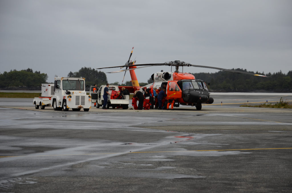 A MH-60 Jayhawk helicopter from Coast Guard Air Station Sitka after MEDEVAC mission.
