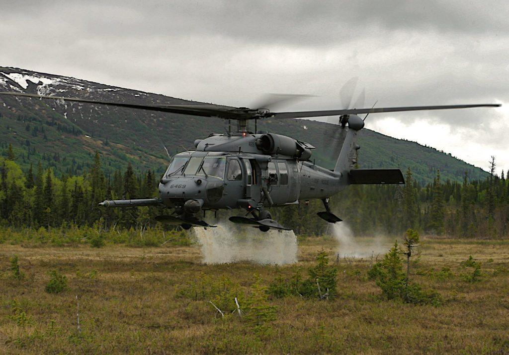Alaska Air Guard rescues pilot, passenger near Tyonek, HH-60 Pave Hawk from the 210th Rescue Squadron