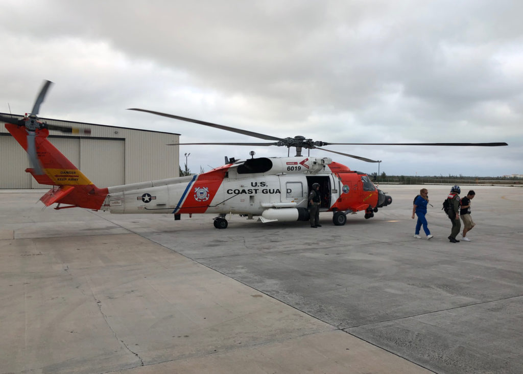 Coast Guard Hurricane Dorian, An MH-60 Jayhawk helicopter continues response efforts in Bahamas for Hurricane Dorian, U.S. Coast Guard photo (archive).
