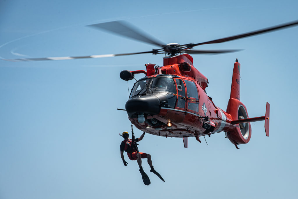 U.S. Coast Guard MH-65 Dolphin in search mission for a person missing in water in St. Charles Parish, La.