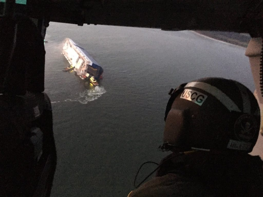 Coast Guard crews and port partners respond to a disabled cargo vessel with a fire on board September 2019, Coast Guard crews and port partners respond to a disabled cargo vessel with a fire on board September 2019 in St. Simons Sound, Golden Ray vessel rescue