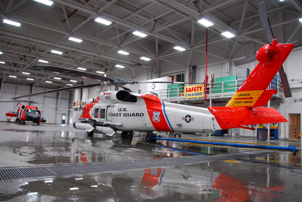 MH-60 Jayhawk helicopters are secured  in the Air Station Sitka Hangar, Coast Guard Station Ketchikan