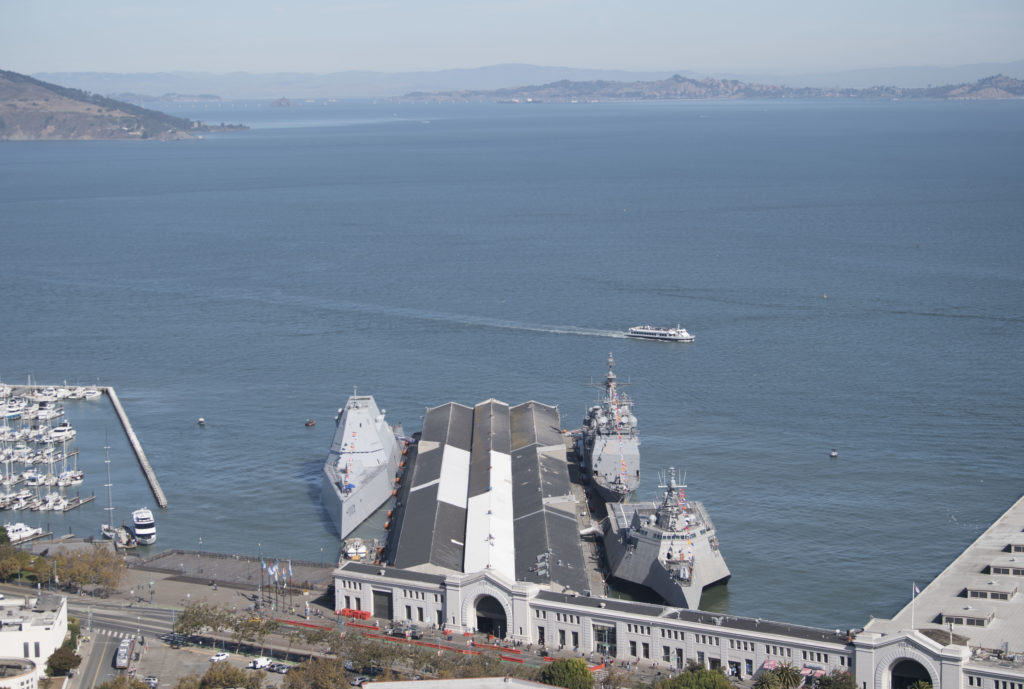 The guided-missile destroyer USS Zumwalt (DDG 100), left, the guided-missile cruiser USS Princeton (CG 59), back right, and the littoral combat ship USS Charleston (LCS 18) moor to a pier in San Francisco for San Francisco Fleet Week (SFFW), Oct. 8, 2019.