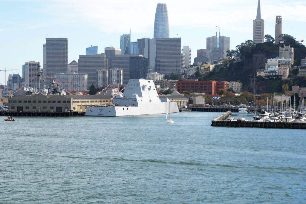 The guided-missile destroyer USS Zumwalt (DDG 1000) sits pierside while participating in San Francisco Fleet Week (SFFW) 2019.