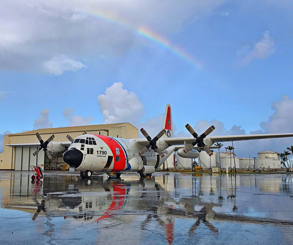 HC-130 Hercules airplane from Coast Guard Air Station Barbers Point, USCG rescue Maui divers