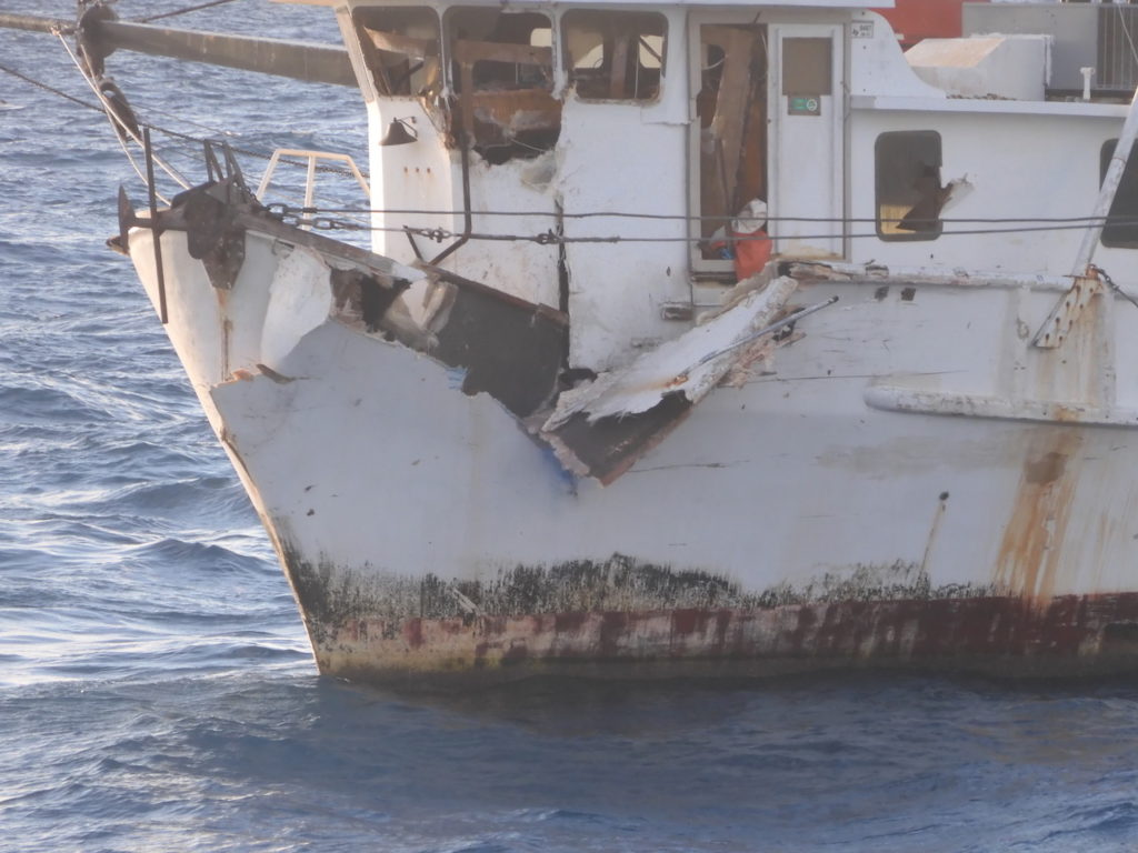 The fishing vessel, Miss Amy J after a boat collision,