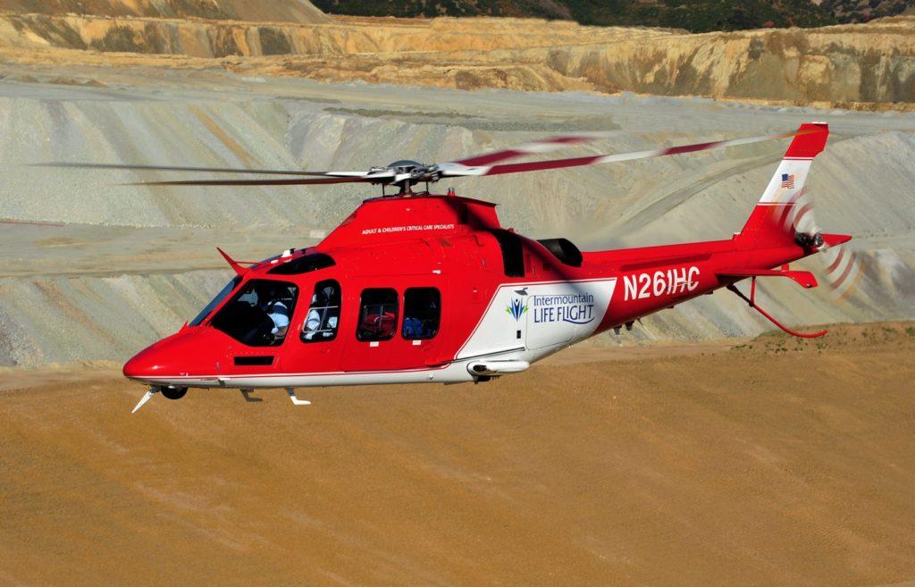 AW109 GrandNew. El programa Life Flight de Intermountain Heathcare tiene una flota propia de aeronaves de ala fija y rotatoria que garantiza a los pacientes el método de traslado más rápido y eficaz.