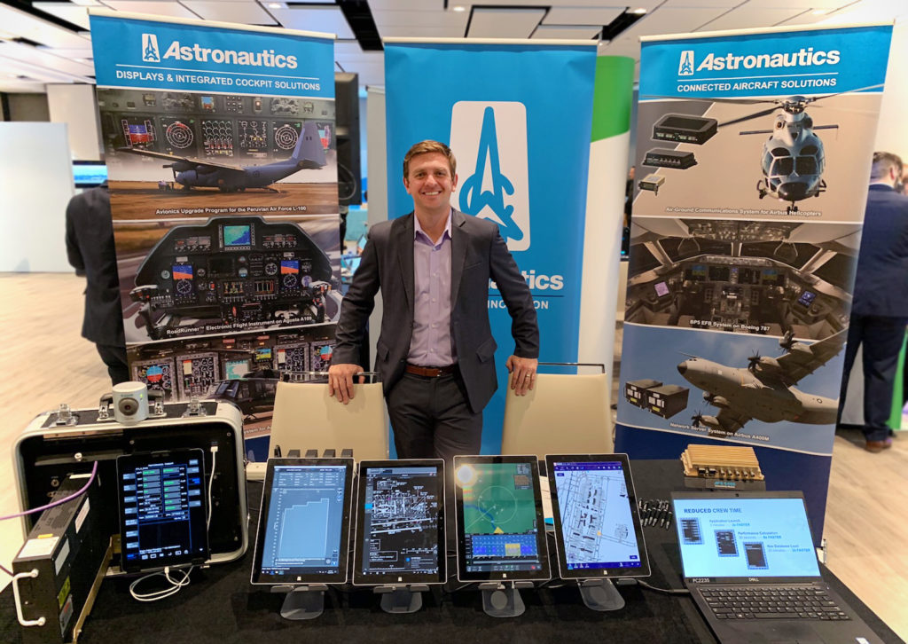 Astronautics exhibiting BP5's ease of retrofit, quick application launch times, and platform improvements to airlines at the AEEC EFB Users Forum in Madrid.  Astronautics EFB Air France