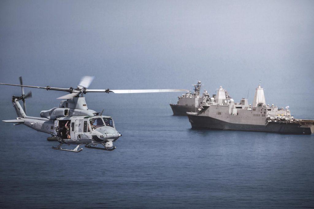 Bell UH-1Y Venom.  Los helicópteros H1 salen totalmente preparados de cadena de montaje para su despliegue en buques. Esto, sumado al 85% de componentes compartidos entre ambos, convierten al Venom y al Viper en la opción más interesante sobre dos plataformas complementarias para el tipo de misión.