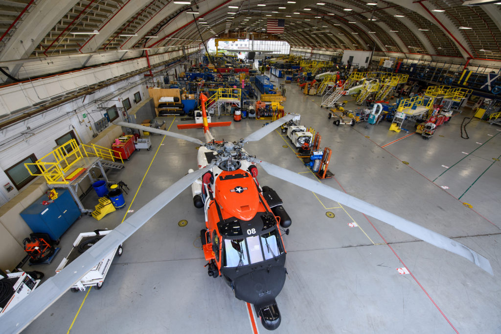 overhead view of Coast Guard Aviation Logistics Center in Elizabeth City, North Carolina, Aug. 11, 2017. The ALC is staffed by about 1,350 Coast Guard members and civilians who maintain aircraft from 25 different Coast Guard air stations. Coast Guard Pamlico Sound