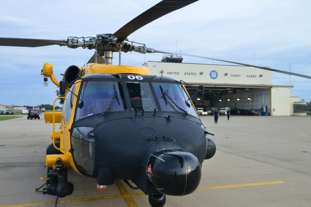 U.S. Coast Guard MH-60 Jayhawk helicopter sits at Air Station Elizabeth City.