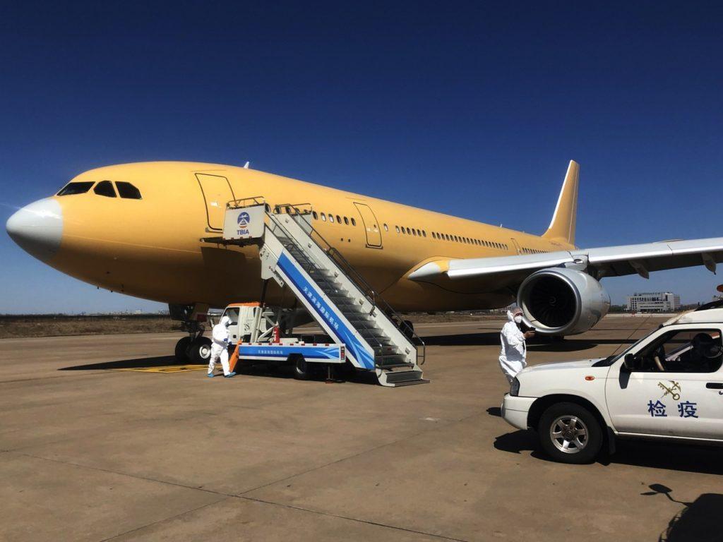 Airbus entrega más suministros de mascarillas para la lucha en Europa contra el SARS-CoV-2 (COVID-19). A330 MRTT en China.