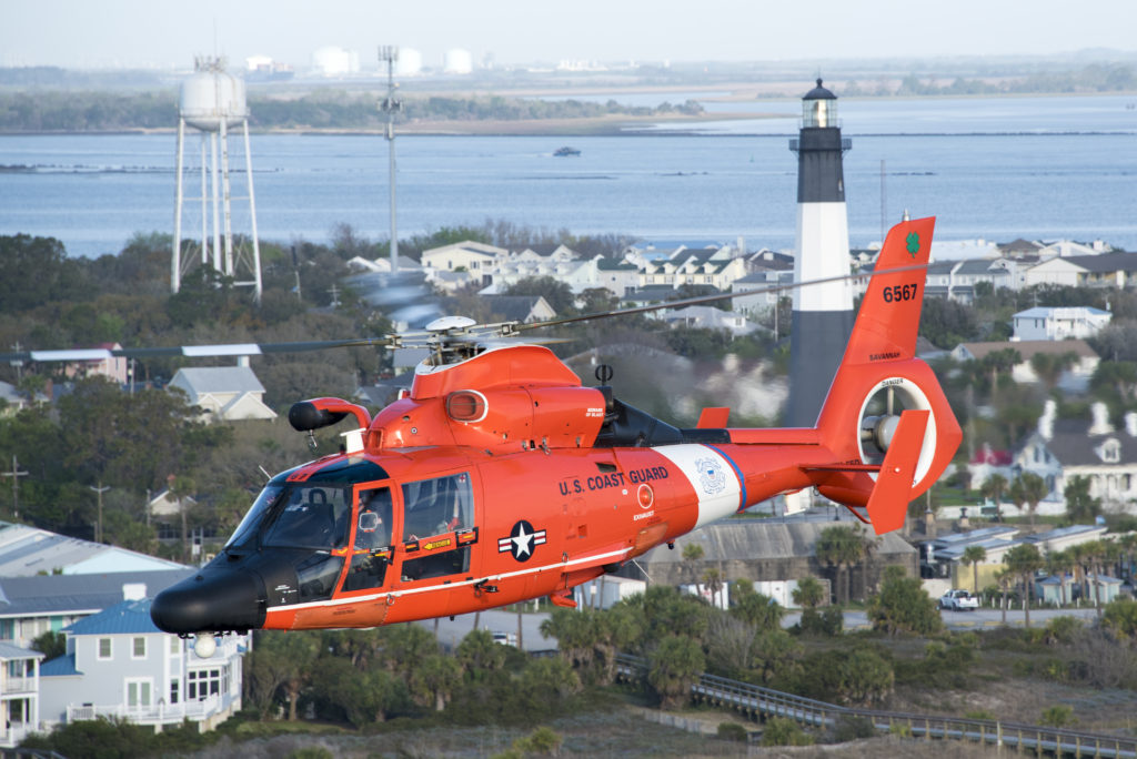 Coast Guard rescue 3 overdue boaters on Cumberland Island. MH-65 Dolphin Air Station Savannah.