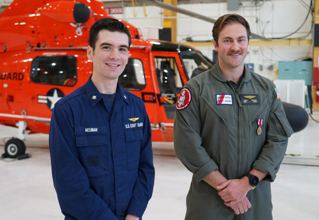 Coast Guard Sector North Bend, rescue swimmer honored for saving the life of fellow aircrew member. Coast Guard rescue swimmer received the Meritorious Service Medal.