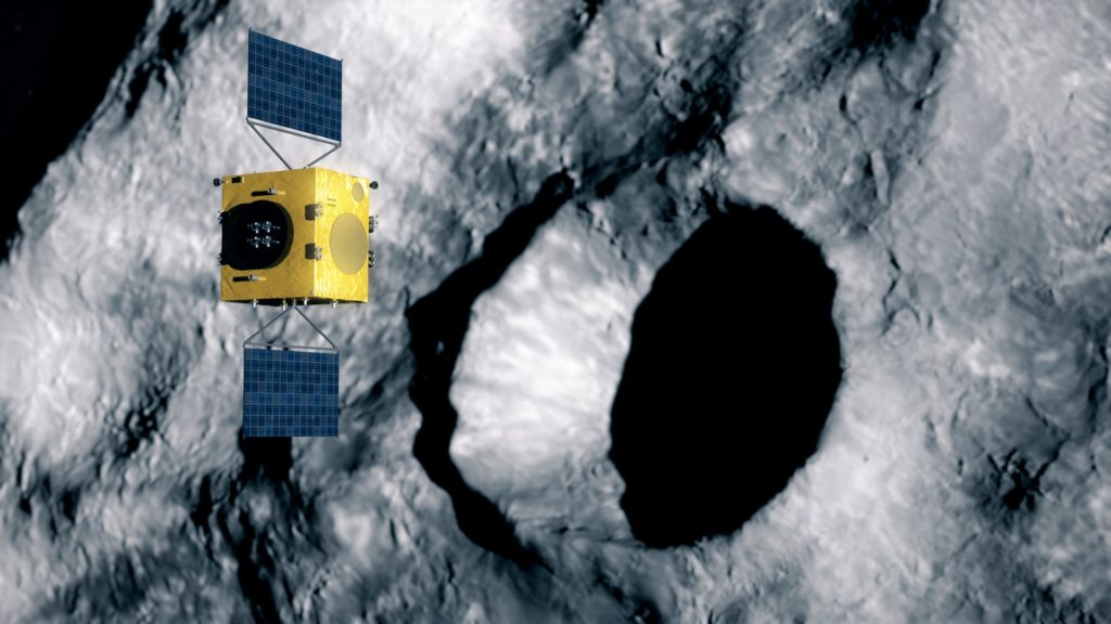 Dimorphos's crater from DART impact. Hera de la ESA y la misión de desviación de asteroides DART de la NASA
