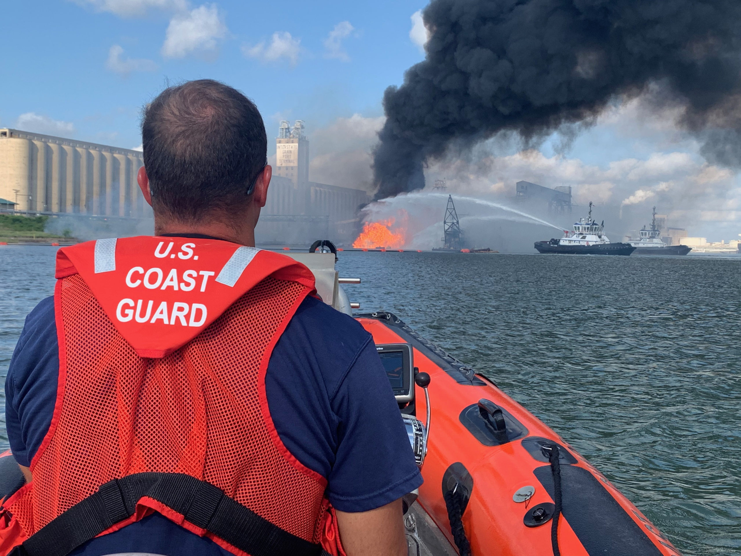 US Coast Guard • Fighting Fire in the Port of Corpus Christi Ship Channel • Aug. 21, 2020