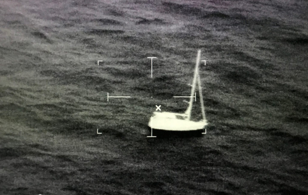 Coast Guard rescue 2 from the sailing vessel Preston Point off Key West, Florida, during Tropical Storm Sally