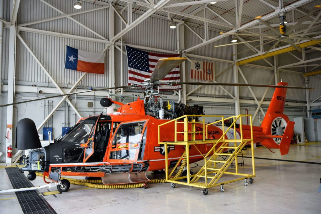 Coast Guard rescue 2 boaters from sailing vessel near Freeport, Texas. MH-65E Dolphin Air Station Houston