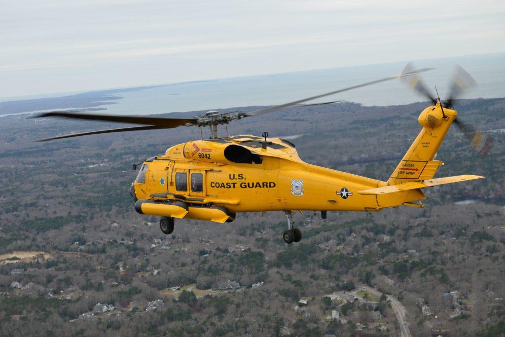 Coast Guard medevac fisherman 60 miles southeast of Martha's Vineyard Centenary MH-60 Jayhawk