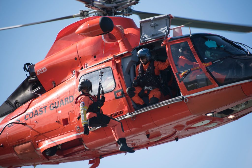 Coast Guard rescue 2 people after vessel capsizes near Moss Landing, MH-65 Dolphin Air Station San Francisco