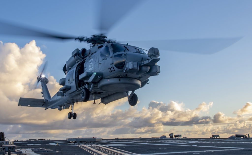 US Navy MH-60R Seahawk aircrew rescue missing fisherman off Oahu